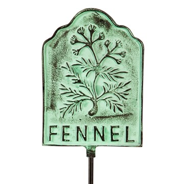 "36""H Distressed Turquoise Metal Plant Marker Garden Stake, Fennel"