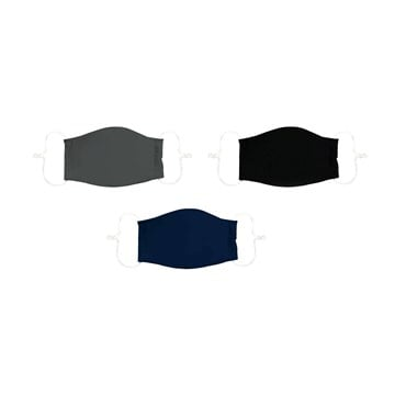 Adult Non-Medical Antimicrobial Cotton Face Mask, Set of 3, Black/Navy/Grey