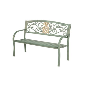 Pineapple Metal Garden Bench - Verdigris